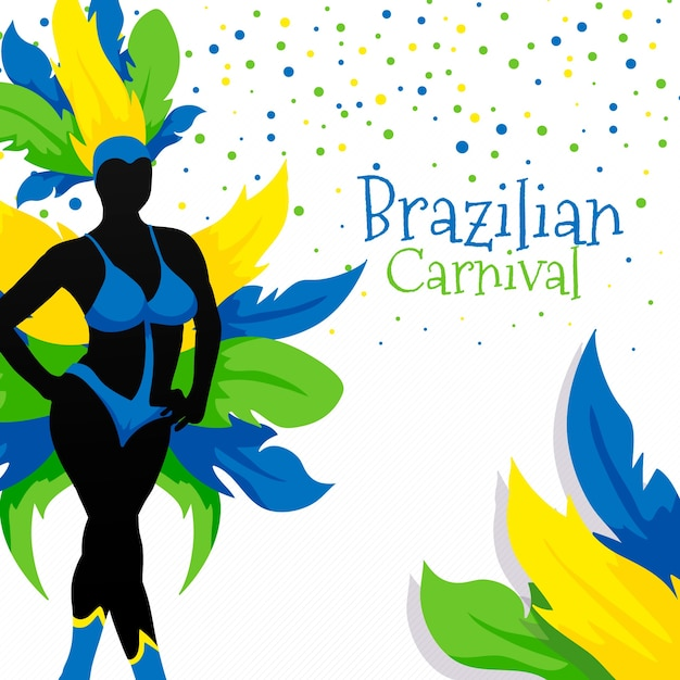 Brasilianischer karneval mit bunten federn Kostenlosen Vektoren