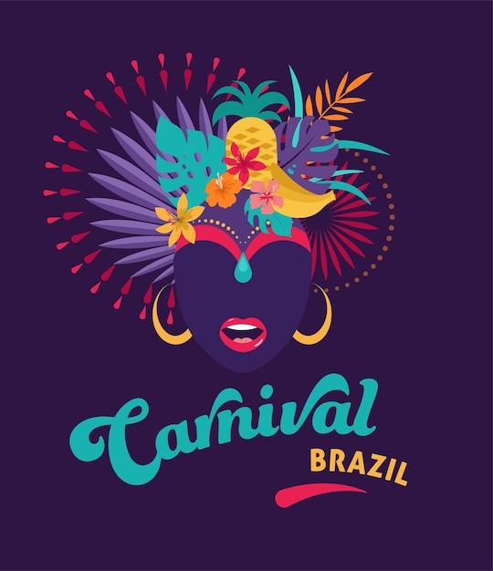 Brasilianischer karneval, musikfestival, maskerade Premium Vektoren