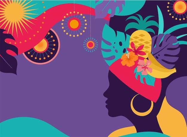 Brasilianischer karneval, musikfestival, maskeradenillustration Premium Vektoren