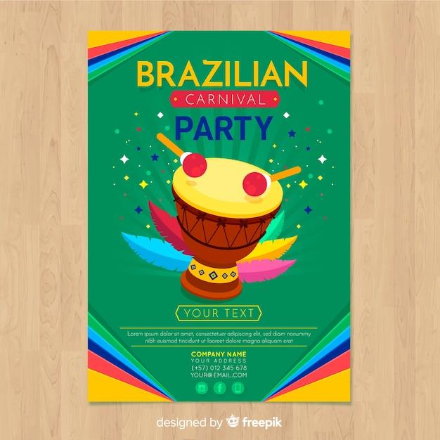 Brasilianischer karnevals-partyflieger Kostenlosen Vektoren
