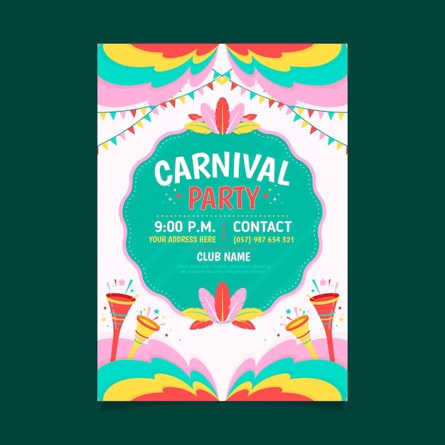 Brasilianischer karnevalsflieger des flachen designs Kostenlosen Vektoren