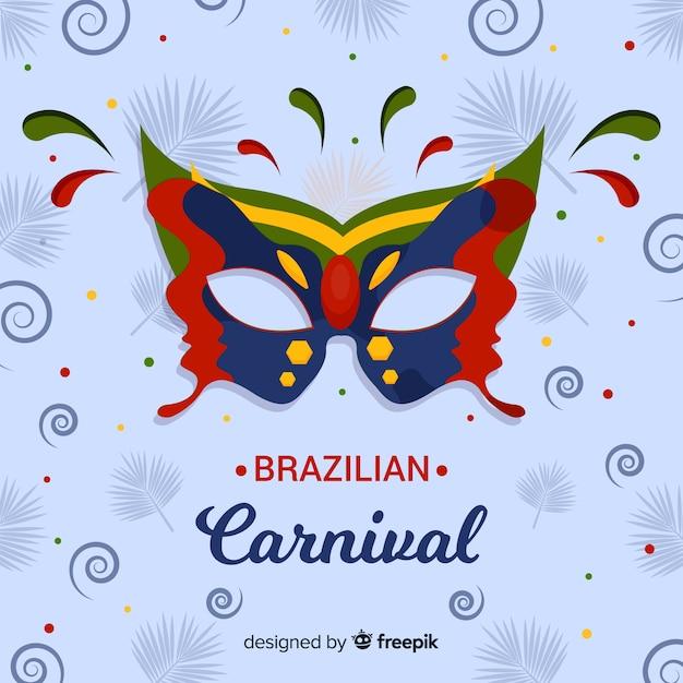 Brasilianischer karnevalshintergrund der bunten maske Kostenlosen Vektoren