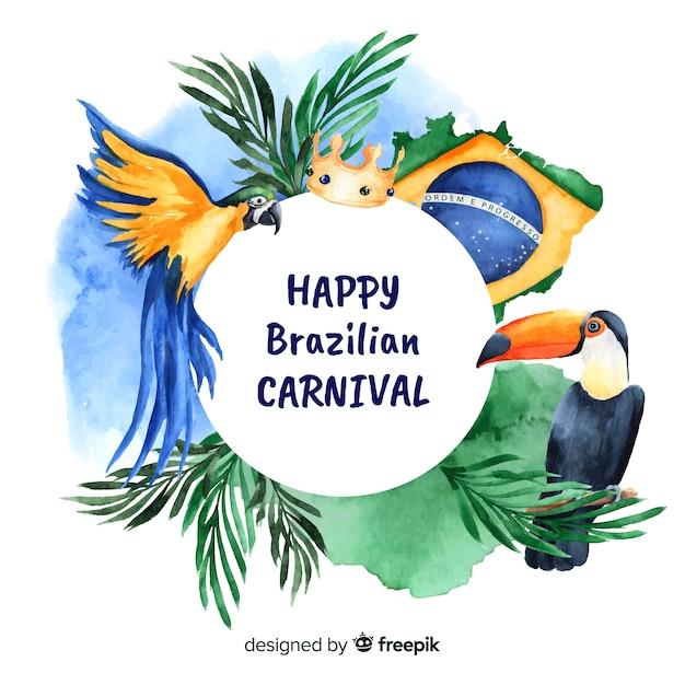 Brasilianischer karnevalshintergrund des aquarells Kostenlosen Vektoren