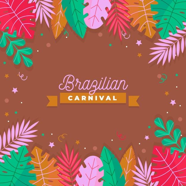 Brasilianischer karnevalshintergrund mit bunten blättern Premium Vektoren