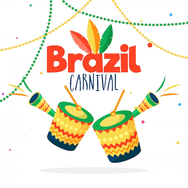 Brasilianischer karnevalshintergrund. Premium Vektoren