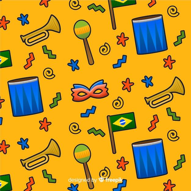 Brasilianischer karnevalsmusterhintergrund Kostenlosen Vektoren