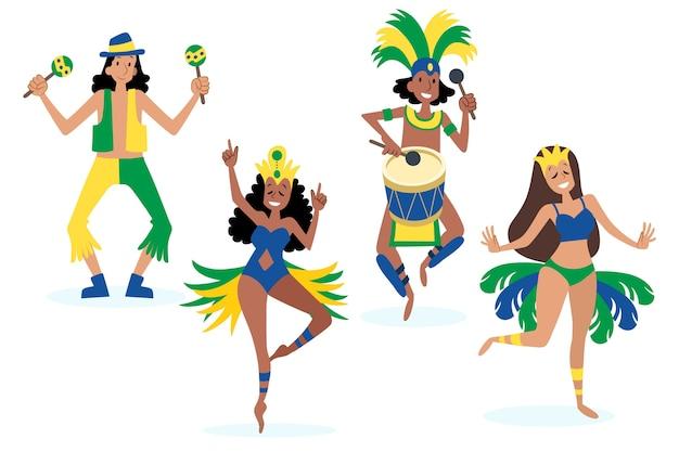 Brasilianischer karnevalstänzer mit traditionellen kostümen Kostenlosen Vektoren