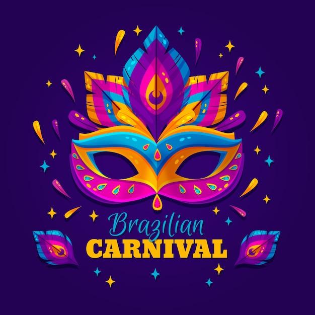 Brasilianisches karnevalskonzept des flachen designs Kostenlosen Vektoren