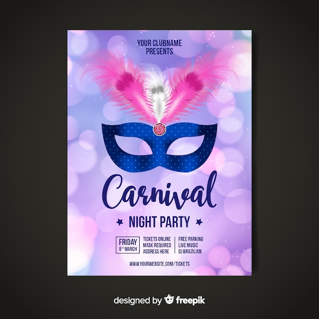 Brasilianisches karnevalsparteiplakat Kostenlosen Vektoren