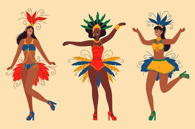 Brasilianisches karnevalstänzerpaket Kostenlosen Vektoren