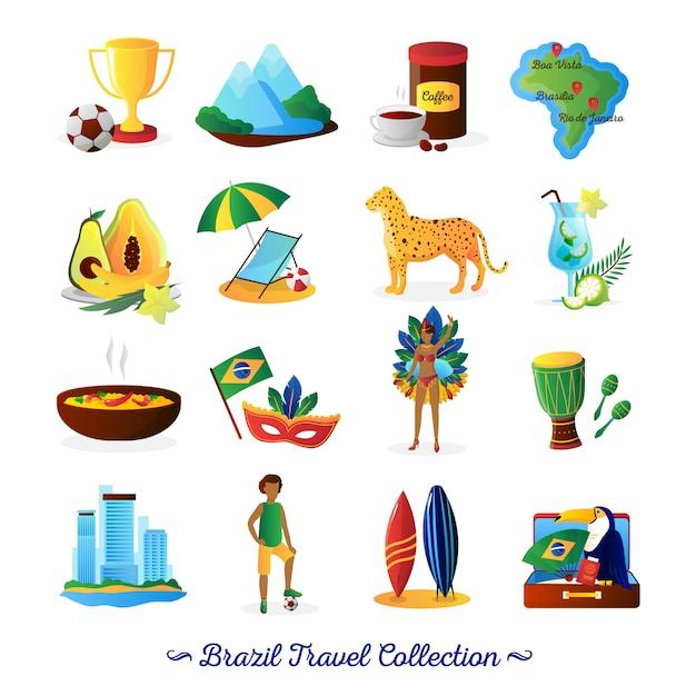 Brasilianisches kulturlebensmittel und -traditionen für reisende mit flachen elementen der landkarte und charaktersammlungszusammenfassungsvektor lokalisierten illustration Kostenlosen Vektoren