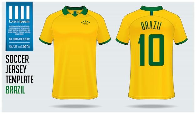 Brasilien-fußball-jersey-modell oder fußballausrüstungsschablone. Premium Vektoren