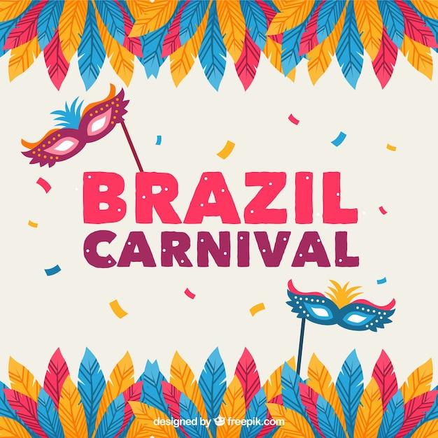 Brasilien karneval hintergrund mit federn und masken Kostenlosen Vektoren