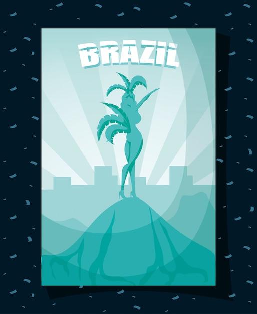 Brasilien-karnevalsplakat mit schöner garota-silhouette Premium Vektoren