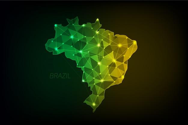 Brasilien karte polygonal mit leuchtenden lichtern und linie Premium Vektoren