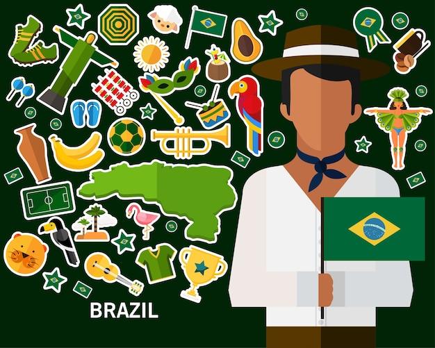 Brasilien-konzept hintergrund Premium Vektoren