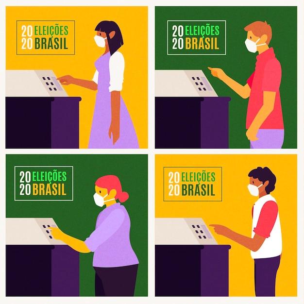 Brasilien-leute, die schlange mit gesichtsmaske wählen Kostenlosen Vektoren
