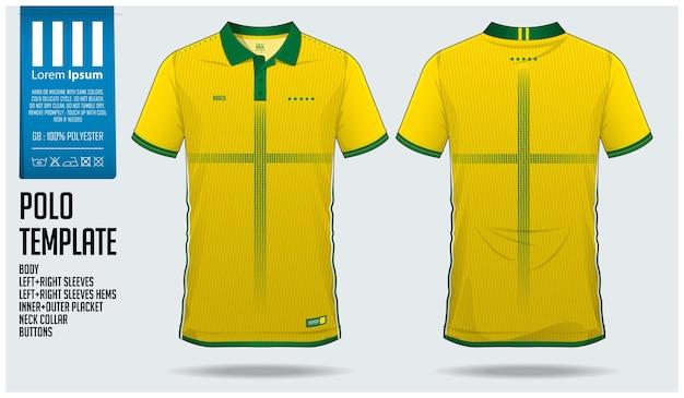 Brasilien team fußball polo shirt sport vorlage Premium Vektoren