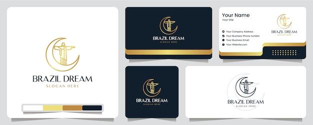 Brasilien traum, goldfarbe, jesus, luxus, banner, visitenkarte und logo design Premium Vektoren