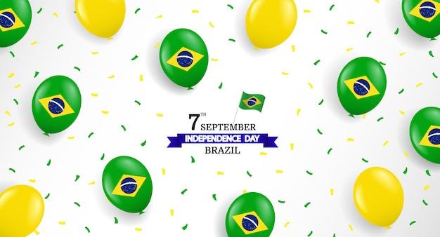 Brasilien unabhängigkeitstag mit luftballons und konfetti Premium Vektoren