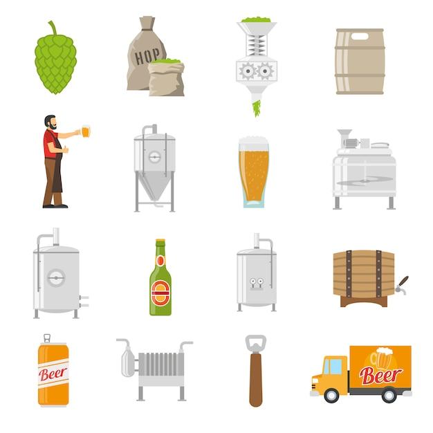 Brauerei-icons set Kostenlosen Vektoren