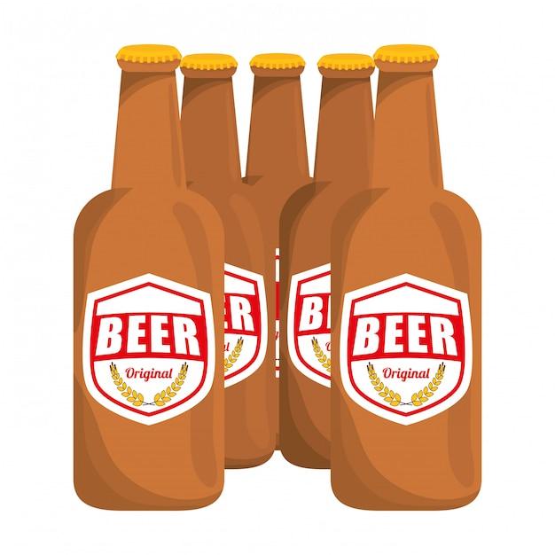 Braune flaschen bier symbolbild Premium Vektoren