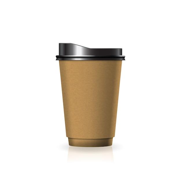 Braune kaffee-teetasse aus kraftpapier-kunststoff mit schwarzem deckel in mittelgroßer schablone. Premium Vektoren