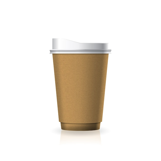 Braune kaffee-teetasse aus kraftpapier-kunststoff mit weißem deckel in mittelgroßer schablone. Premium Vektoren