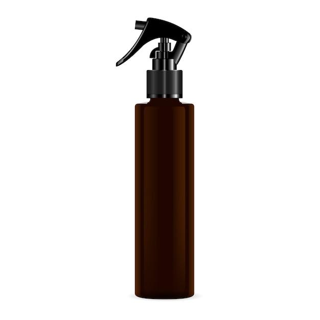 Braune pistolenabzugsspray-kosmetikflasche. Premium Vektoren