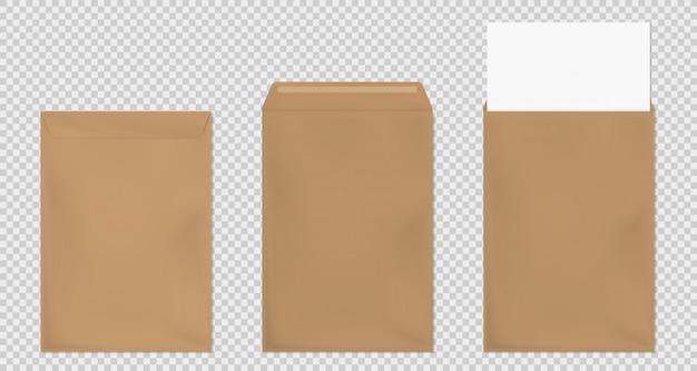 Braune umschlag a4 vorlage, leere papierabdeckungen gesetzt Kostenlosen Vektoren