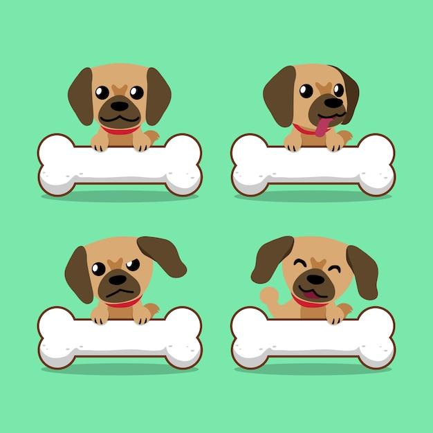 Brauner hund der zeichentrickfilm-figur mit den großen knochen Premium Vektoren