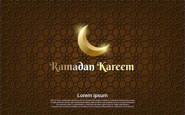 Brauner ramadan kareem mit mondhintergrund Premium Vektoren