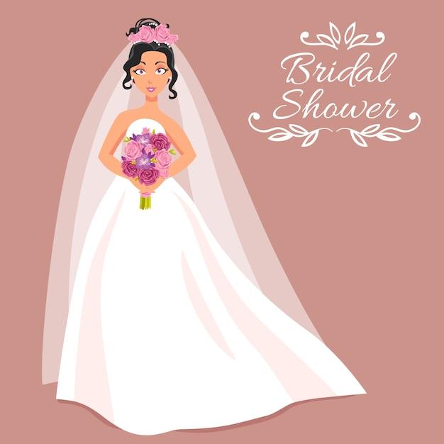 Braut im weißen kleid mit blumenstrauß Kostenlosen Vektoren