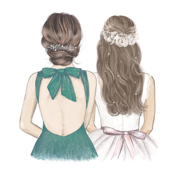 Braut mit brautjungfer im smaragdgrünen kleid, handgezeichnete hochzeitseinladung. Premium Vektoren
