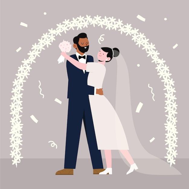 Braut und bräutigam, die veranschaulicht heiraten Kostenlosen Vektoren