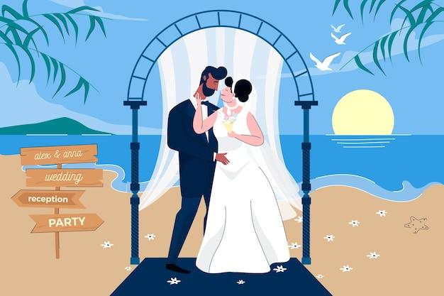Braut und bräutigam heiraten Kostenlosen Vektoren