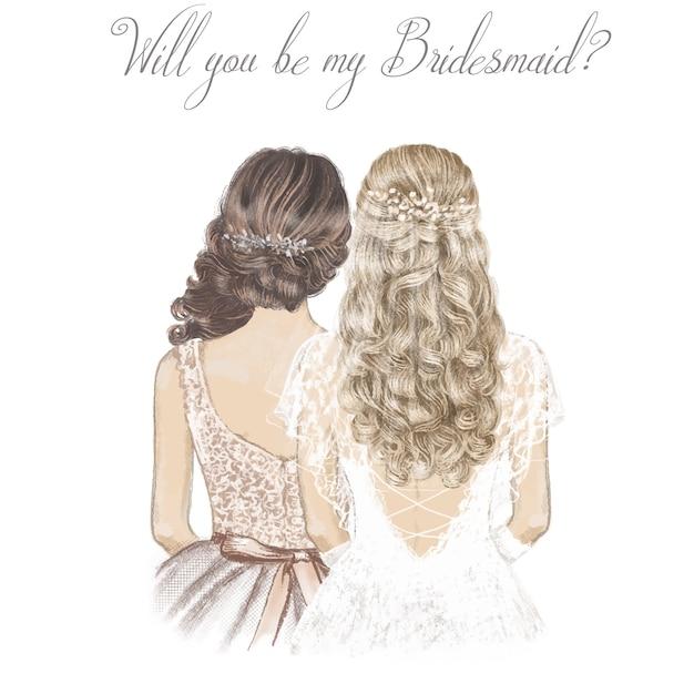 Braut und brautjungfer mit lockigem haar. hand gezeichnete illustration. Premium Vektoren