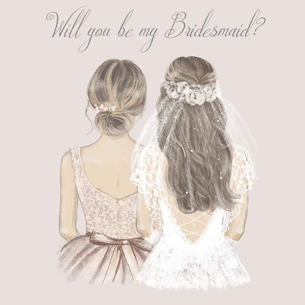 Braut und brautjungfer nebeneinander, hochzeitseinladung. hand gezeichnete illustration im weinlesestil. Premium Vektoren
