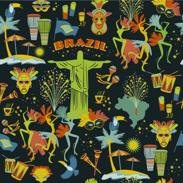 Brazilian muster in farbenfrohen stil Kostenlosen Vektoren