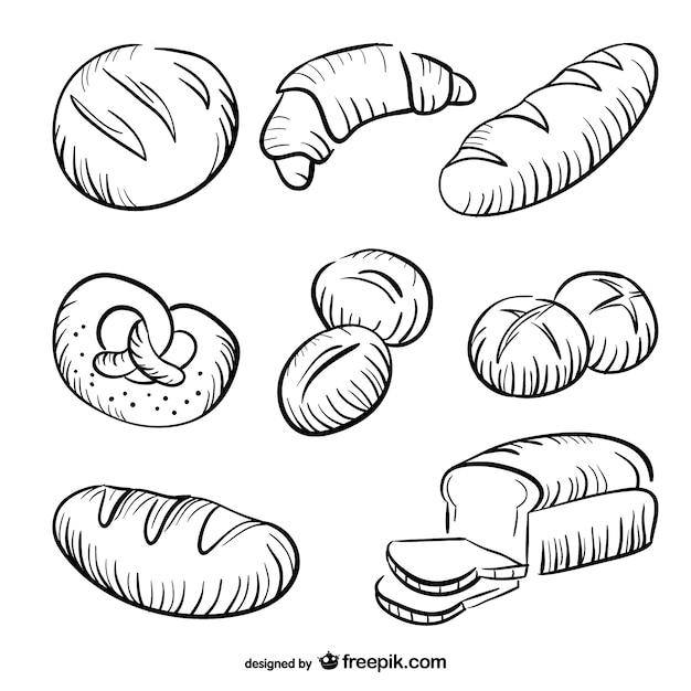 Bread zeichnungen sammlung Kostenlosen Vektoren
