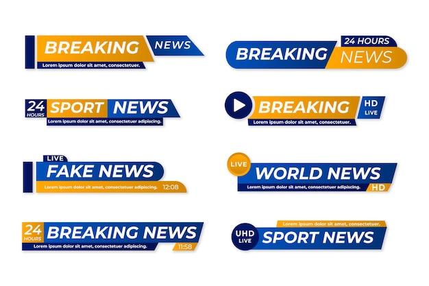 Breaking news banner gesetzt Kostenlosen Vektoren