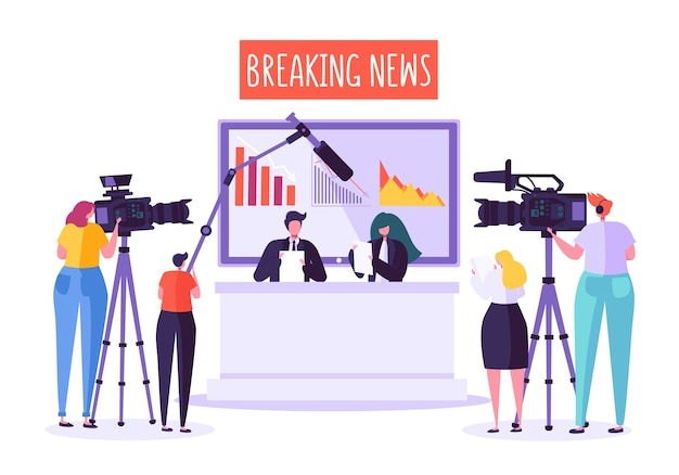 Breaking news tv-studio, massenmedien. professionelle journalisten, die dringende nachrichten lesen. Premium Vektoren