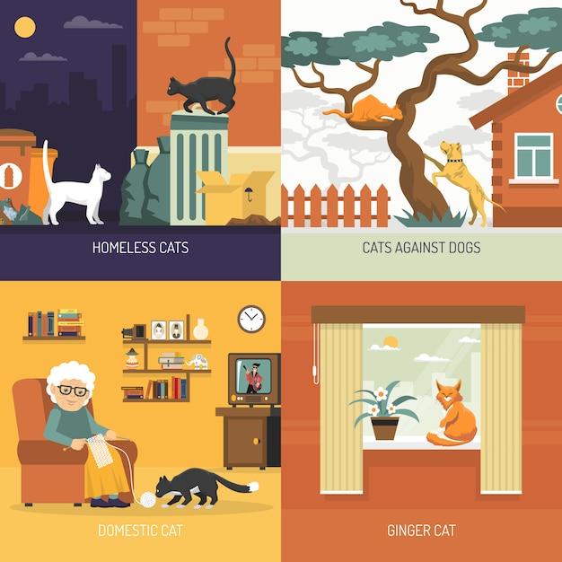 Breed cats 2x2 design concept Kostenlosen Vektoren