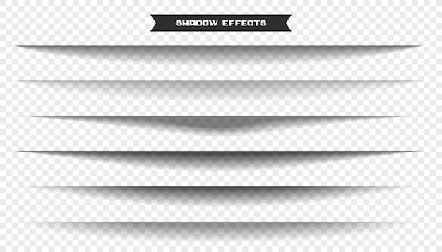 Breiter papierblatt-schatteneffektsatz von sechs Kostenlosen Vektoren