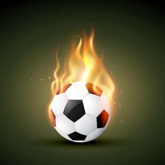 Brennen im feuer fußball Premium Vektoren
