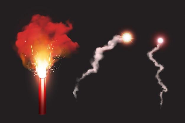 Brennen sie rote kanonenfeuer, sos feuersignal für den notfall Kostenlosen Vektoren