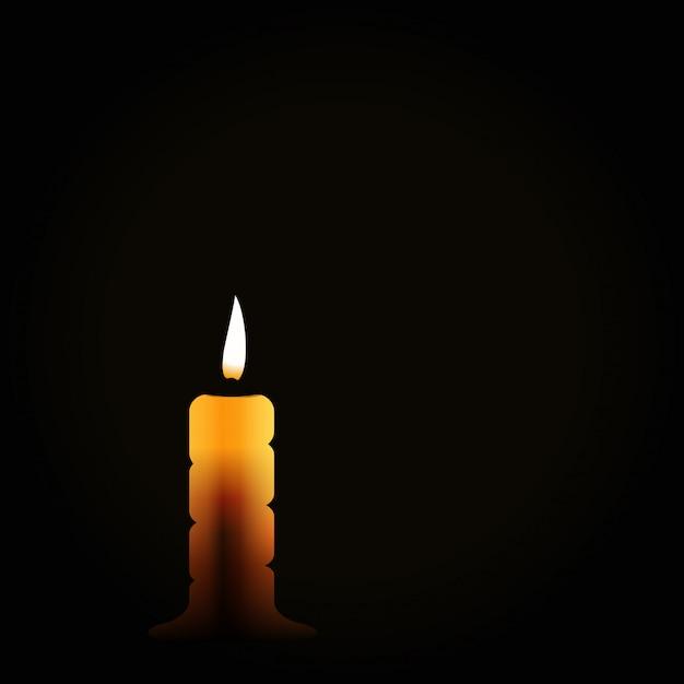 Brennende kerze auf schwarzem hintergrund, trauersymbol, trauern leid Premium Vektoren