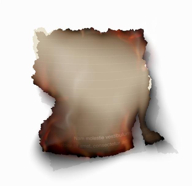Brennende schablonen des transparenten entwurfs brennen papier mit feuer Premium Vektoren