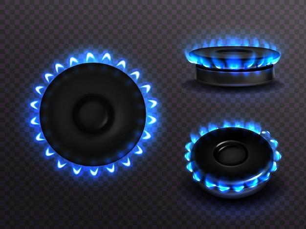 Brenngasherd mit blauer flamme oben und seitenansicht. küchenbrenner mit beleuchteten kochfeldern, propan-butan-flamme im kochofen, leuchtendes kochfeld lokalisiert auf transparentem hintergrund, realistisches 3d-set Kostenlosen Vektoren