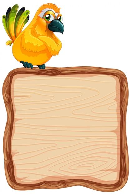Brettschablone mit niedlichem vogel auf weißem hintergrund Kostenlosen Vektoren